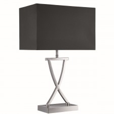 Table Lamp, X Shape Base Satin Silver, Black Rectangle Shade