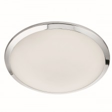 Led Bathroom Ip44 Flush, Chrome Trim, Frosted Glass Shade