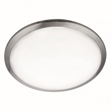 Flush LED Ceiling Light - Satin Silver, Frosted Glass
