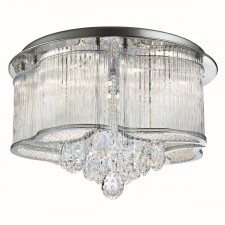 Mela Led Ceiling Flush, Clear Glass Trim, Clear Crystal Drops