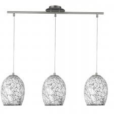Crackle 3 Light Ceiling Bar - Chrome, with White Mosaic Glass