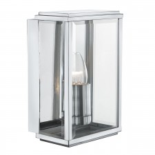 Outdoor Wall & Porch Light - 1 Light Satin Silver Rectangle Box