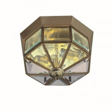 Flush Ceiling Light - Brass Octagon