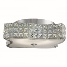 Rados Led Wavey Ceiling Flush, Clear Crystal Trim, White/Clear Glass Diffuser