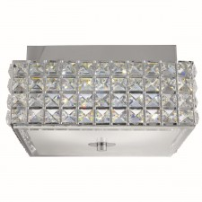 Rados Led Square Ceiling Flush, Clear Crystal Trim, White/Clear Glass Diffuser