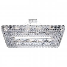 Vesuvius - 26 Light Rectangle Crystal Ceiling, Chrome, Clear Coffin Drop Trim & Ball Drops