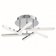 Solexa Led 6 Arm Ceiling Semi-Flush, Chrome, Frosted Acrylic