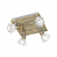 Tona Ceiling Spotlight - 4 Light, Antique Brass