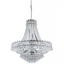 Versailles - 13 Light (Dia 82Cm) Clear Crystal Chandelier, Chrome Frame