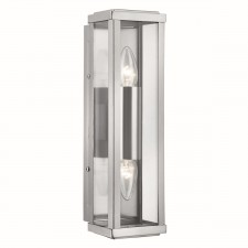 Outdoor Box Lantern Wall Light - 2 Light, Satin Silver (IP44)