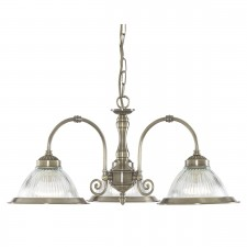 American Diner Ceiling Light - antique 3 light