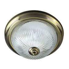 Flush Ceiling Light - Ribbed Glass & Brass