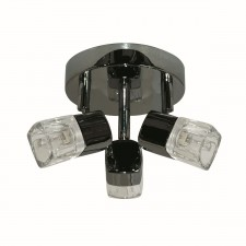 Blocs - 3 Light Spotlight Plate, Black Chrome, Ice Cube Glass Shades