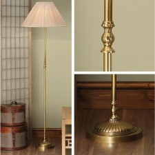 Interiors1900 Fitzroy Brass Floor Lamp With Oyster Silk