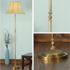 Interiors1900 Fitzroy Brass Floor Lamp With Honey Silk