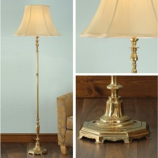 Interiors1900 Asquith Brass Floor Lamp With Honey Shade