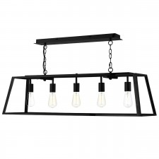 Academy Glass Pendant Light - 5 Light, Black