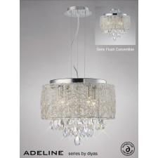 Diyas Adeline Pendant 4 Light Polished Chrome/Crystal