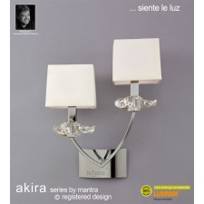 Akira Wall 2 Light Polished Chrome With Cream Shade