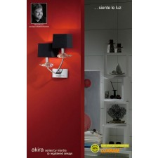 Akira Wall 2 Light Polished Chrome With Black Shade
