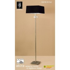 Akira Floor 3 Light Antique Brass With Black Shade