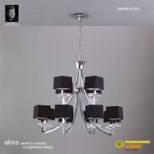 Akira Pendant 12 Light Polished Chrome With Black Shade
