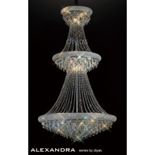 Diyas Alexandra Pendant 29 Light Chrome/Crystal