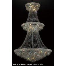 Diyas Alexandra Pendant 37 Light Chrome/Crystal