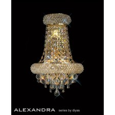 Diyas Alexandra Large Wall Lamp 3 Light French Gold/Crystal
