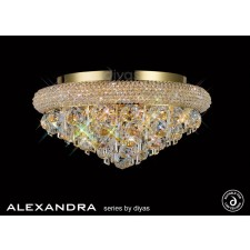 Diyas Alexandra Ceiling 6 Light French Gold/Crystal