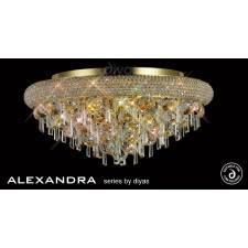 Diyas Alexandra Ceiling 7 Light French Gold/Crystal