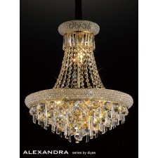 Diyas Alexandra Pendant 9 Light French Gold/Crystal