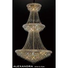 Diyas Alexandra Pendant 29 Light French Gold/Crystal