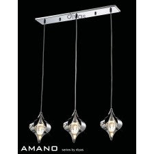 Diyas Amano Pendant 3 Light Polished Chrome/Crystal