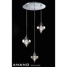 Diyas Amano Round Pendant 3 Light Polished Chrome/Crystal