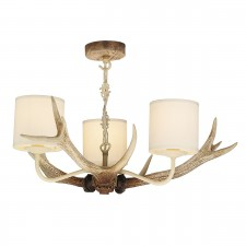 David Hunt Antler 3-Light Pendant Bleached