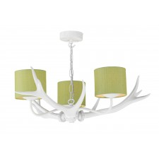 Antler 3 Light Pendant White complete with Silk Shades(Specify Colour)