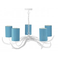 Antler 5 Light Pendant White complete with Silk Shades(Specify Colour)