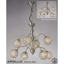 Diyas Apollo 8 Light Pendant Satin Nickel/Crystal