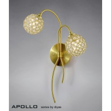 Diyas Apollo Wall Lamp 2 Light Satin Brass/Crystal
