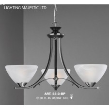 JH Miller - Dorchester Ceiling Light - 3 Light Black & Chrome