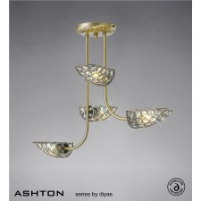 Diyas Ashton 4 Light Semi-Flush Antique Brass/Crystal