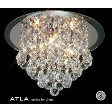 Diyas Atla Flush Ceiling 4 Light Round Polished Chrome/Crystal