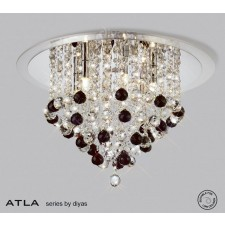 Diyas Atla Ceiling 6 Light Chrome/Crystal With Clear Acrylic Trim