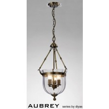 Diyas Aubrey Pendant 3 Light Antique Brass