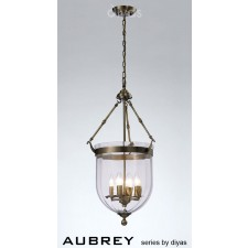 Diyas Aubrey Pendant 4 Light Antique Brass