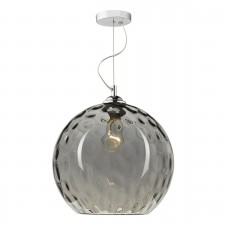 Aulax 1 Light Pendant Smoked Dimple Effect