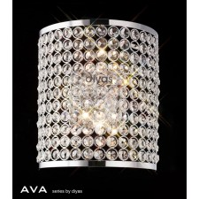 Diyas Ava Rectangle Wall Lamp 2 Light Polished Chrome/Crystal
