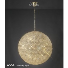 Diyas Ava Pendant 12 Light French Gold/Crystal