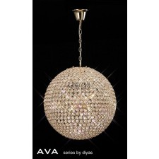 Diyas Ava pendant 9 Light French Gold/Crystal